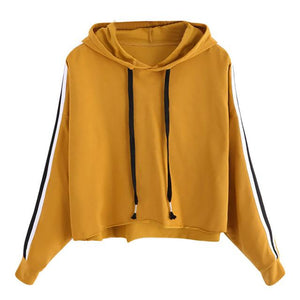 Hooded Drawstring Sweatshirt Striped Sleeve Crop Hoodies Women Burgundy Casual Tracksuit Autumnuotelab-uotelab