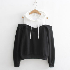 Moletom Women Long Sleeve Hoodies Sweatshirts Sexy Cold Shoulder Patchwork Sweatshirt Harajukuuotelab-uotelab