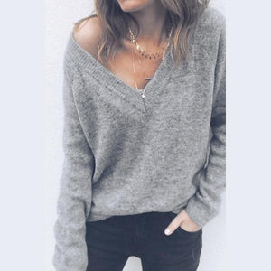 Soft Comfortable Pullovers Female Cashmere Sweater Women Pure Casual V-neck Short Basicuotelab-uotelab