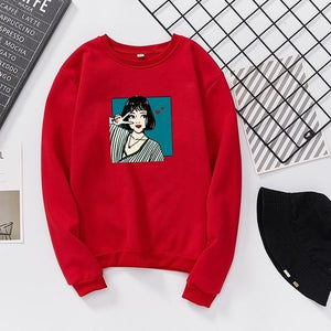 Women Hoodies Autumn Winter Female Long Sleeve Fleece Turtleneck Sweatshirt Kawaiiuotelab-uotelab