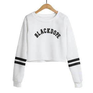2018 Women Autumn Winter Loose Short Hoodies Crop Tops Letter Print Casualuotelab-uotelab
