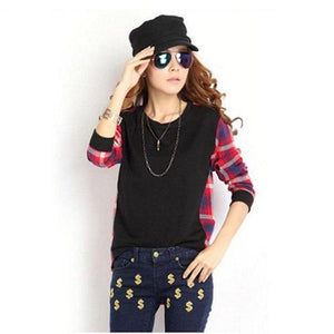 2018 Plaid Sweatshirt Autumn Long Sleeve Suit Women Short Hoody Casual Hoodiesuotelab-uotelab