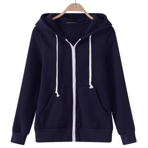 2018 Female Hoodies Sweatshirt Autumn Winter Long Sleeve Zipper Hooded Sudaderas Mujeruotelab-uotelab