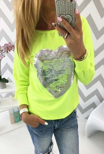2018 Autumn Women Sequined Heart Pullovers O-neck Long Sleeve Sweatshirts Lady Tracksuitsuotelab-uotelab
