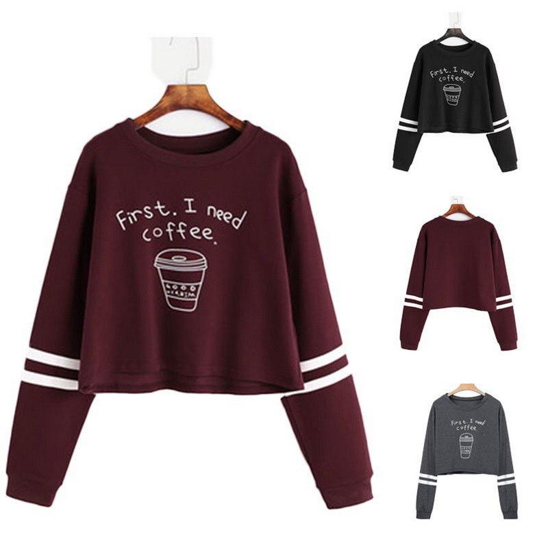 Women Long Sleeve Round Neck First I Need Coffee Letter Print Casualuotelab-uotelab