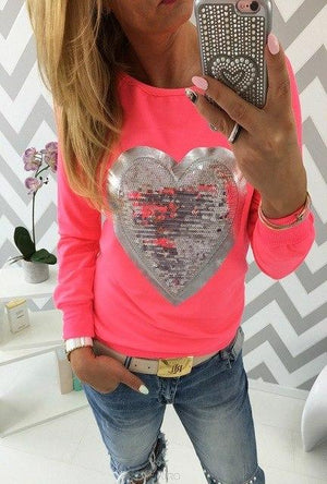 2018 New Fashion Women Lovely Sequined Heart Hoodie Sweatshirt Casual Longuotelab-uotelab