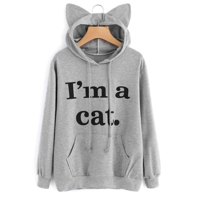 Letter Print Cat Ear Cap Hoodies Women I AM A CAT Printuotelab-uotelab