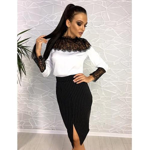 Women Sexy Lace Patchwork Club Blouse Ladies Stand Collar Long Sleeve Autumnuotelab-uotelab