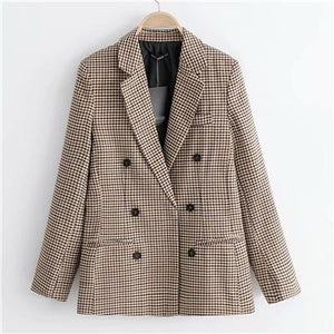 Plaid Women Suits Blazer Autumn Winter 2018 Fashion Blend Coat Loose Houndstoothuotelab-uotelab
