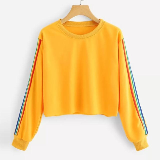 New 2018 Womens Sweatershirts Long Sleeve Rainbow Patchwork O Neck Sweatshirt Casualuotelab-uotelab