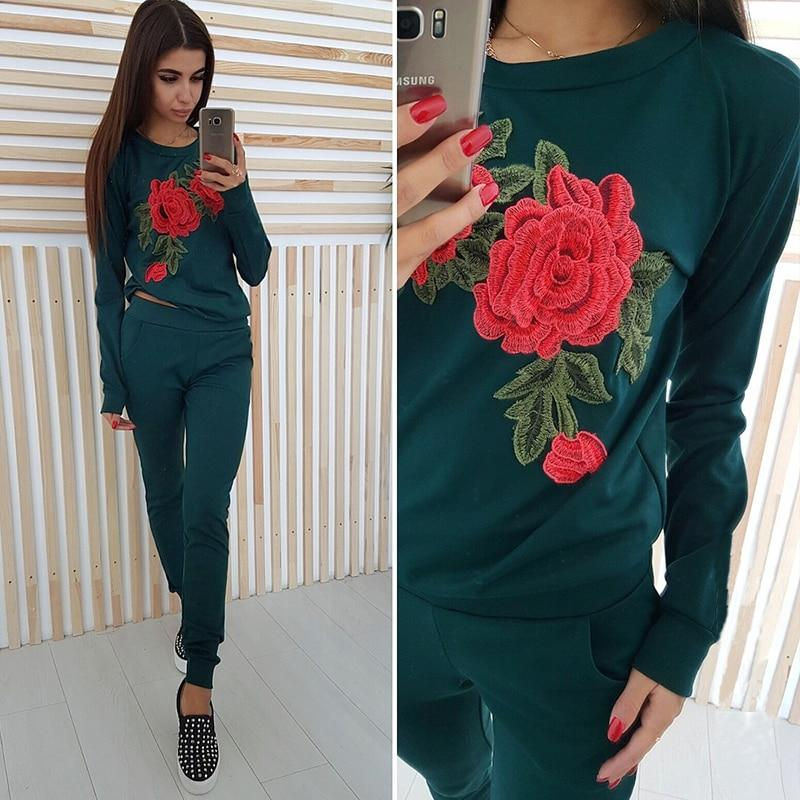 Women Autumn Winter Casual Floral Basic Pullovers Female Long Sleeve O Neckuotelab-uotelab