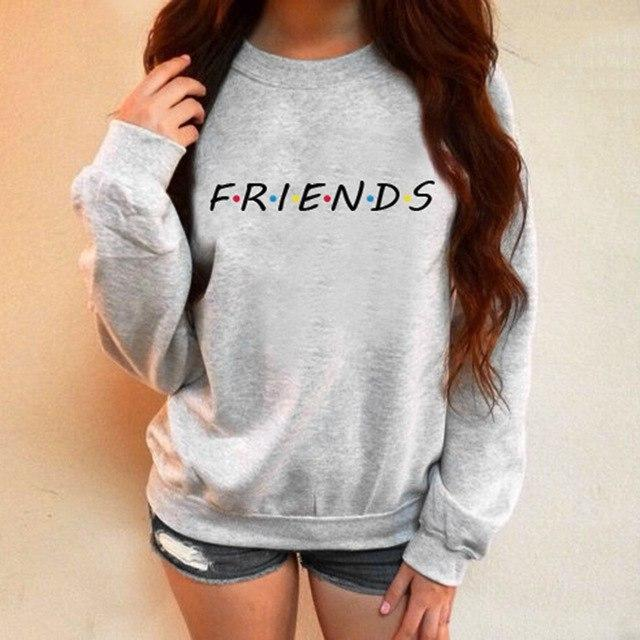Harajuku Women Hoodies Sweatshirt Ladies Tracksuit FRIENDS Printed Hooded Winter Warm Sweatshirtsuotelab-uotelab