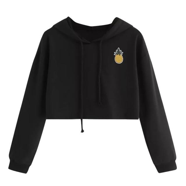 Fashion cropped hoodie Fall Winter clothes Appliques Pinapple Sweatshirt Longuotelab-uotelab