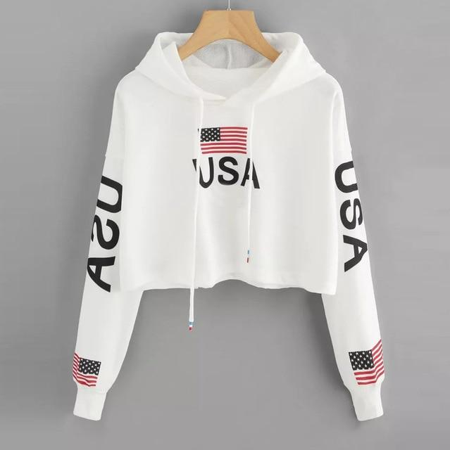 Feitong Woman Hoodie Crop Top USA Flag Print Harajuku Dancer Streetwear uotelab-uotelab
