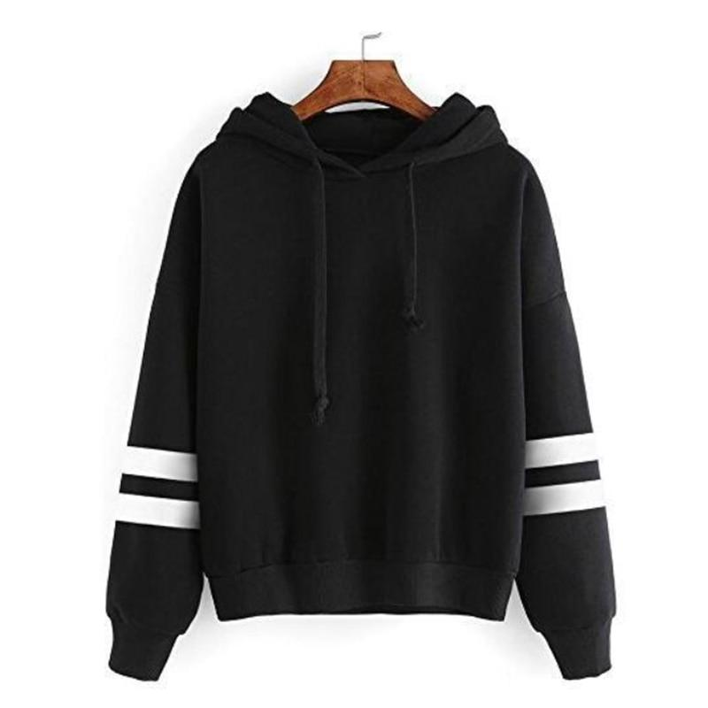 Zebery Casual Long-sleeved Striped Top Hooded Sweatshirt Women's Clothing Loose Sweatshirt Autumnuotelab-uotelab