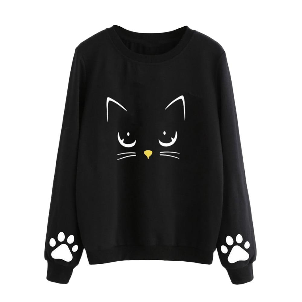 Sweatshirt Women 2018 Cat Print Plus Size Sweatshirts Cute Pullover Casualuotelab-uotelab