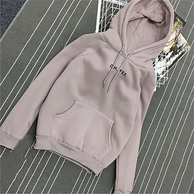 FLULU Autumn Winter Hoodie Sweatshirt Women 2018 Fashion Casual Solid Thick Hoodyuotelab-uotelab