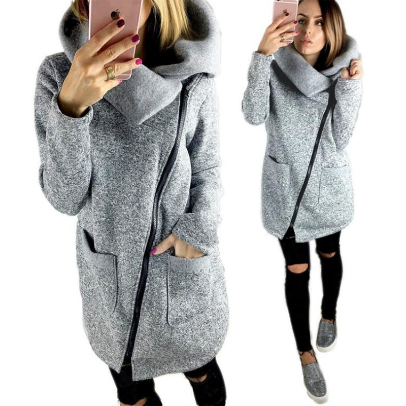 2018 Women Spring Winter Fleece Sweatshirt Hoodie Long Zipper Hoodies Jacket Coatuotelab-uotelab