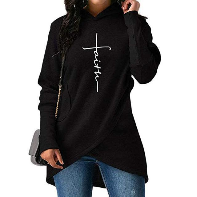 Print Women Hoodie Autumn Letter Faith Embroidery Pullover Sweatshirt Women Clothes Casualuotelab-uotelab