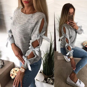 Women Knitted Sweater Hollow Out Bowknot Round Neck Long Sleeve Pull Femmeuotelab-uotelab