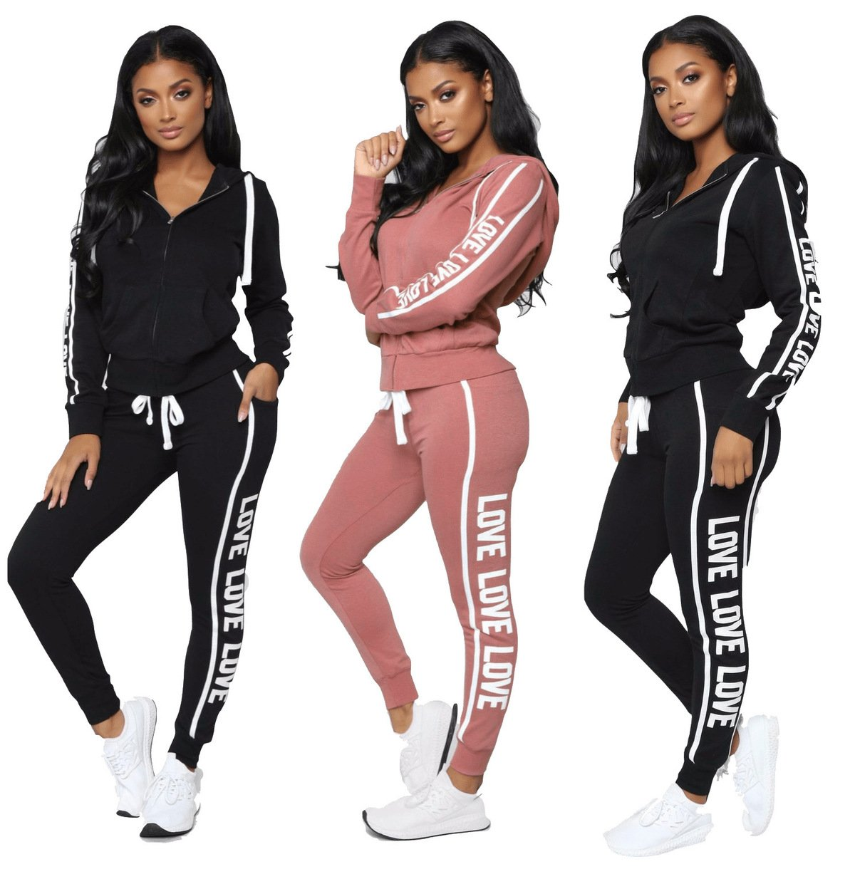 2018 New Long Sleeve Letter Top Pants 2 Piece Sets Womenuotelab-uotelab