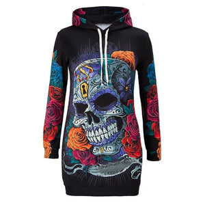 Colorful Skull Flamingo Printed Pocket Dress Women Dress Female Mini Hoodies Dressuotelab-uotelab