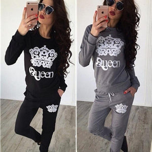 trend 2018 Autumn cute sexy two piece print o-neck women sets longuotelab-uotelab