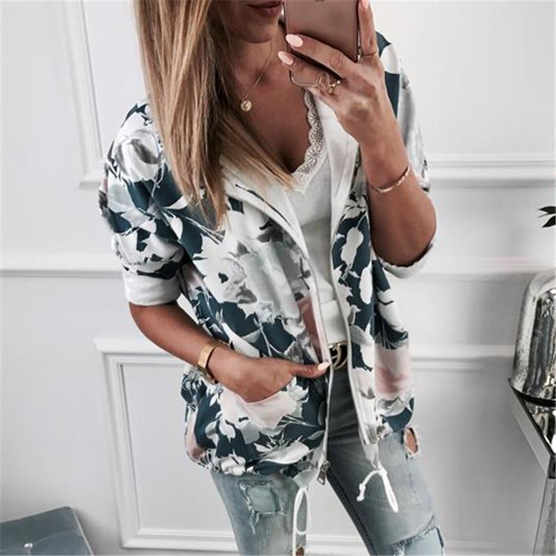 Autumn Hoodies Women 2018 Casual Floral Print Zip Up Sweatshirts Fashionuotelab-uotelab