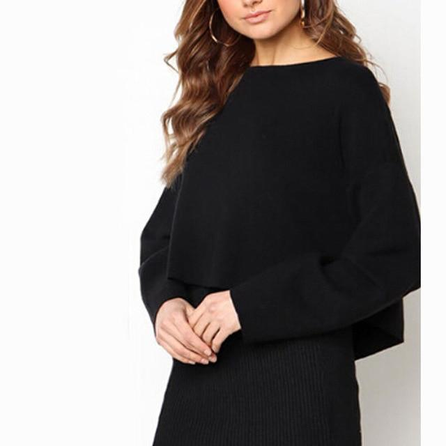 2019 Women Knitted Clothes Suit Eegant Long Sleeve Crop Top High Waistuotelab-uotelab