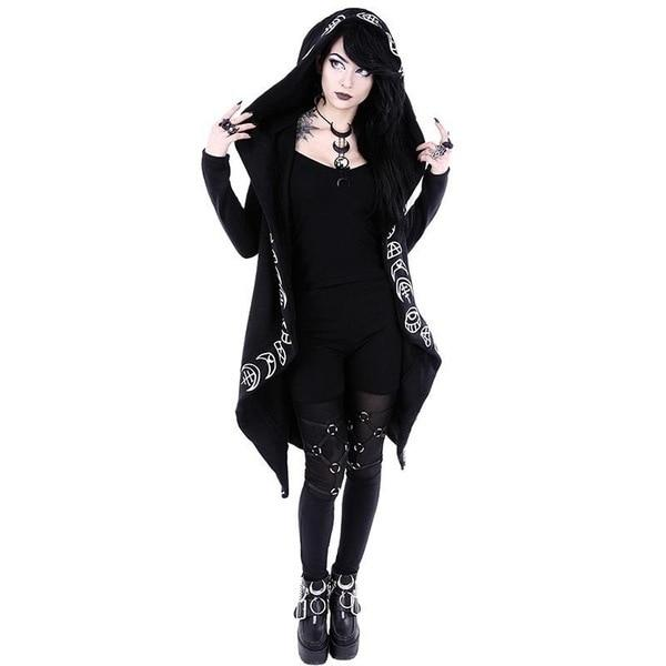 5XL Ladies Punk Moon Printed Long-sleeve Hoodies Women Plus Size Loose Halloweenuotelab-uotelab
