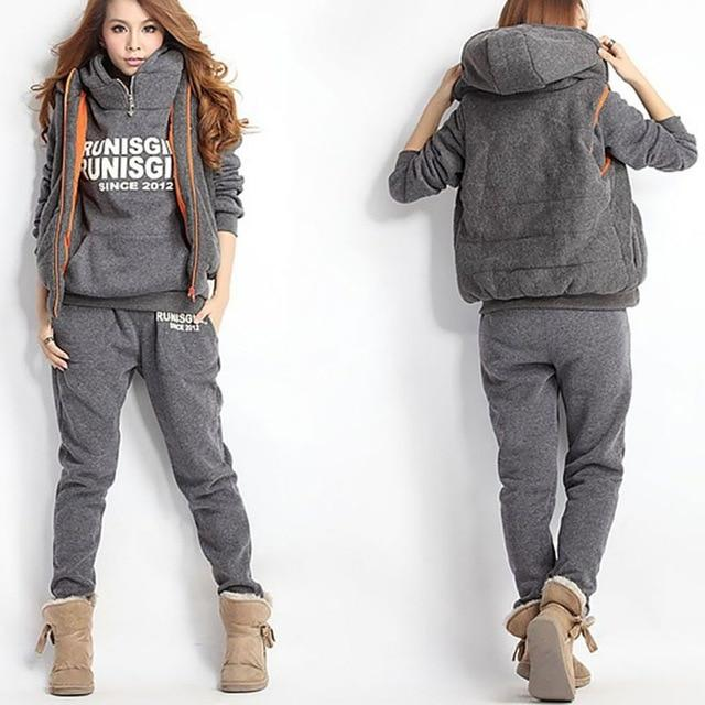 3PCS Running Sets Womens Hoodies Warm Women letter Tracksuit Set Thicken Sweatuotelab-uotelab