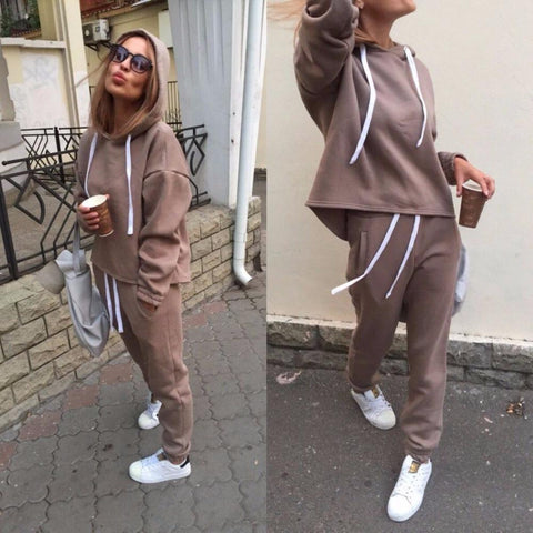 0ef1201d1c57 2018 Autumn Tracksuit Long Sleeve Thicken Hooded Sweatshirts 2 Piece Set  Casualuotelab. Sale