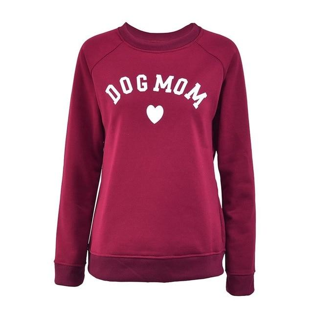 Dog Mom Long Sleeve Casual Sweatshirt Women's Print Fashionable Heart-shaped Print Kawaiiuotelab-uotelab