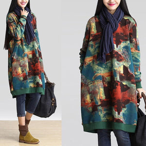 2018 Autumn Women Long Hoodies Dress Ladies Long Sleeve Print Looseuotelab-uotelab
