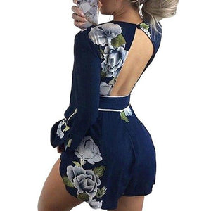 Wuhaobo 2018 Summer Casual Fashion Playsuit Lace Collar Stamp V Backless Sexyuotelab-uotelab