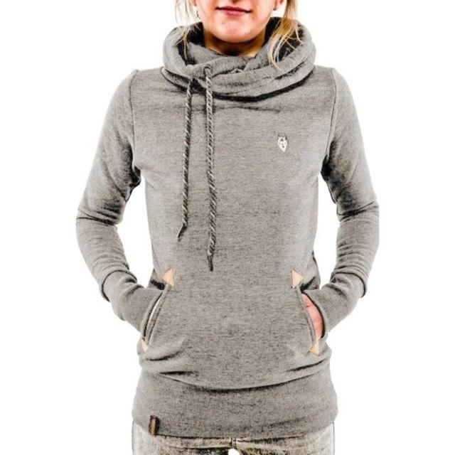 Women Long Sleeved Pullovers Hoodies Solid Casual Hooded Sweatshirt Female Topsuotelab-uotelab
