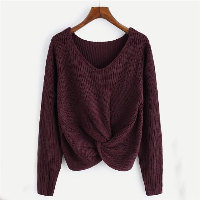Women Long Sleeve Solid Color V-neck Sexy Cross Knotted Panel Sweater Camisolauotelab-uotelab