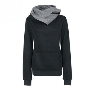 Chic Design Women Casual Solid Hoodies Lapel Hooded Sweatshirts Pullovers Turn-down Collaruotelab-uotelab