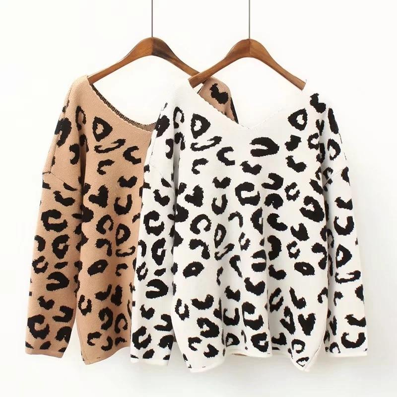 Fashion women Q0921T2 Europe and America 2018 autumn new leopard V collaruotelab-uotelab