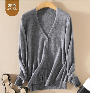 2018 New Autumn And Winter Thickening 100% Cashmere Sweater Women's Cardigan V-neckuotelab-uotelab