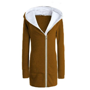 Womens Fleece Hoodies 2018 Winter Warm Overcoat Female Hooded LongJacket Fluffy Coatuotelab-uotelab