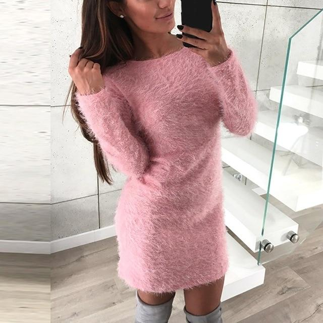 2019 Sexy Bodycon Dress Women Knitted Sweater Female Casual Top Pull Femmeuotelab-uotelab