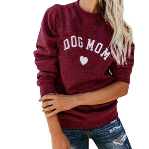 2018 DOG MOM Funny Letter Print Sweatshirt For Women Full Sleeve Casualuotelab-uotelab