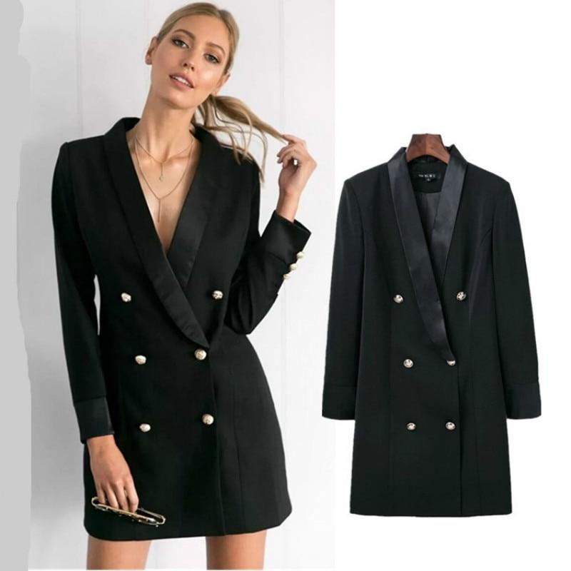 Elegant Professional Mini Woman Suits Dress Double-breasted Blazer Jacket OL Buttons Coatuotelab-uotelab