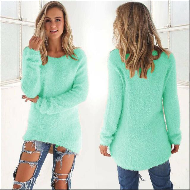 Plus Size Solid Christmas Sweater Long Sleeve Round Neck Warm Winter Clothesuotelab-uotelab