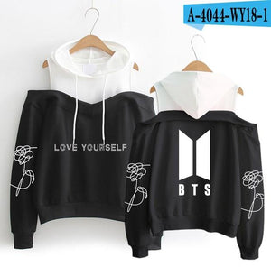 FrdunTommy BTS Hooded Sweatshirt Love Yourself flower printing Women's hip hop casualuotelab-uotelab