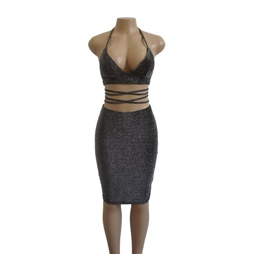 Sexy Crop Top and Skirt Set Womens Two Piece Sets 2018 Halteruotelab-uotelab