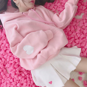 Cute Pink White Sweatshirt Hoodies Women Long Sleeve Heart Embroidery Hooded Sudaderauotelab-uotelab