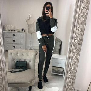 Women Patchwork Casual Two Piece Set Sexy Crop Top Skinny Pants Vintageuotelab-uotelab