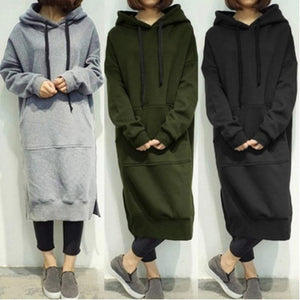 2017 Autumn Winter Casual Women Hooded Long Hoodies Plus Size 5XL Looseuotelab-uotelab